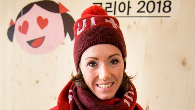 Selina Gasparin avant ils gieus olimpics a Pyeongchang.