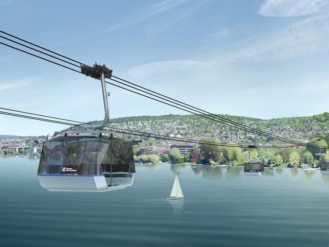 Die neue Gondelbahn der ZKB, die über den Zürichsee schwebt.