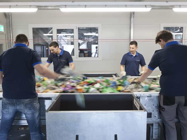 Angestellte sortieren Plastikflaschen manuell