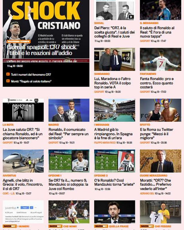 Screenshot von der Webseite der Gazzetta.