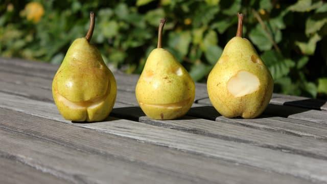Drei Birnen mit geschnitzten Gesichtern.