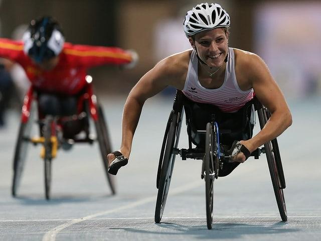 Catherine Debrunner bei einem Rennen