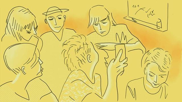 eine Illustration von Jugendlichen im Schulzimmer. Der eine zeigt sein Handy herum