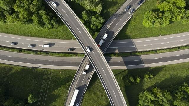 Autobahnverzweigung von oben