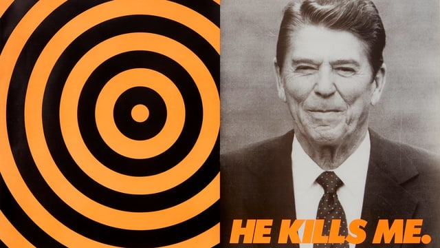 """Spirale und Foto von Ronald Reagan. Darunter steht """"He kills me"""""""