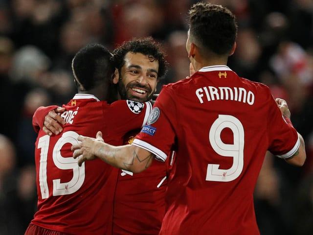 Sadio Mané, Mohamed Salah und Roberto Firmino (von links) jubeln
