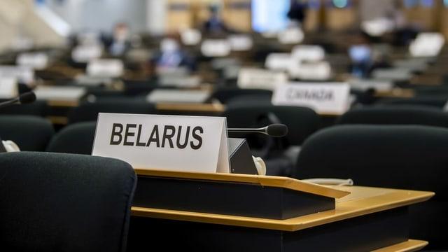 Vor der Eröffnung: Belarus' Sitz im Menschenrechtsrat.