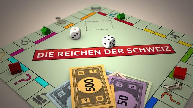 Monopolyspiel mit Schriftzug «Die Reichen der Schweiz»