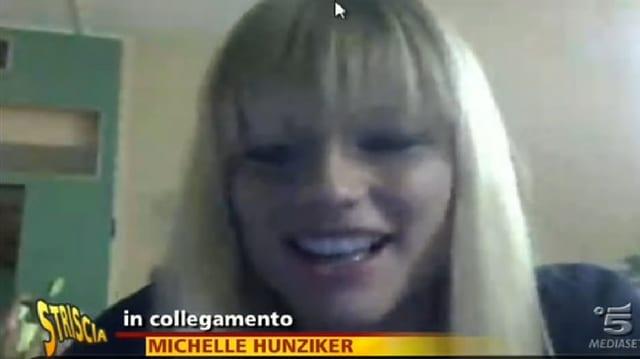 Michelle Hunziker in der Video-Schaltung.