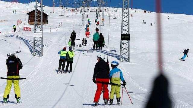 Ein Skilift im Kanton Graubünden.
