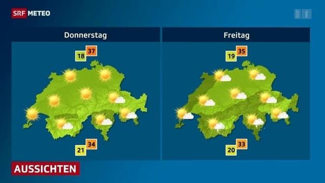 Wetterkarte von SRF Meteo