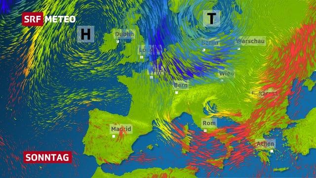 Ein Schnappschuss einer Strömungsanimation. Angedeutet mit blauen Pfeilen fliesst kalte Luft von Nordeuropa her in die Schweiz.