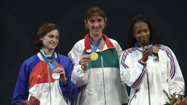 Das Podest im Fechten der Frauen bei Olympia 2000 in Sydney