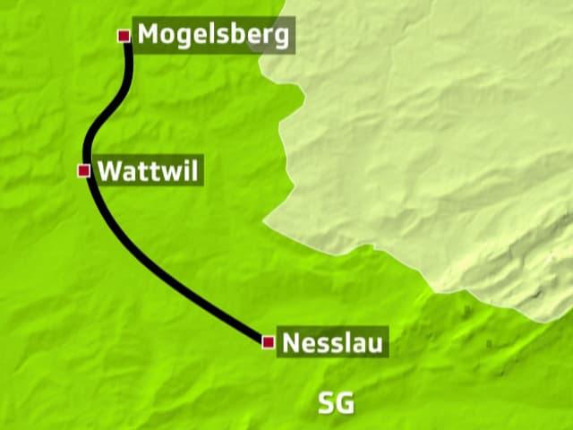 Kartenausschnitt Toggenburg.