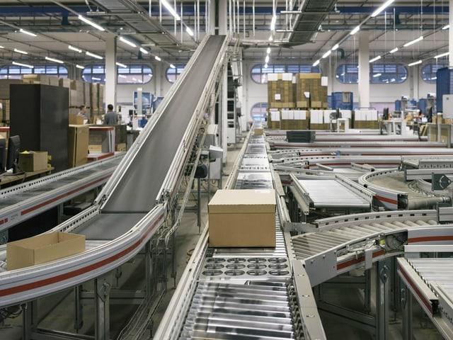 Blick in das Gewirr von Laufbändern in einem Logistikzentrum