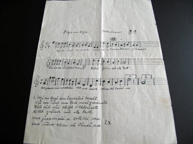 Ein kariertes Blatt mit der Originalnotation von Zogä am Bogä.