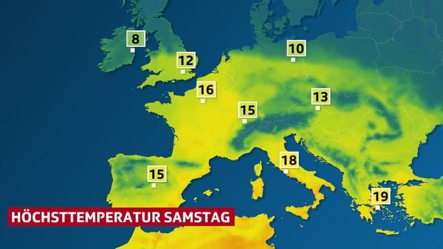 Die Temperaurverteilung in Europa, in flächiger Darstellung,  für Samstag. In West- und Südeuropa herrschen verbreiten mehr als 15 Grad.