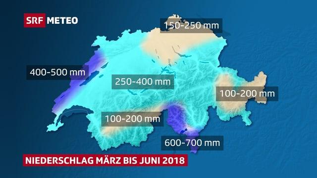 Schweizerkarte mit Einfärbung je nach Regenmenge von März bis Juni 2018. Trocken ist vor allem der Osten, das Zentralwallis und das Engadin.