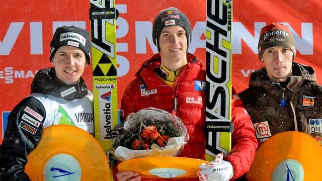 Simon Ammann, Gregor Schlierenzauer und Robert Kranjec.