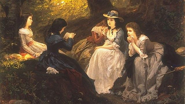 Auf dem Bild von Wilhelm Amberg aus dem Jahr 1870 liest eine junge Frau ihren Freundinnen aus Goethes «Werther» vor.