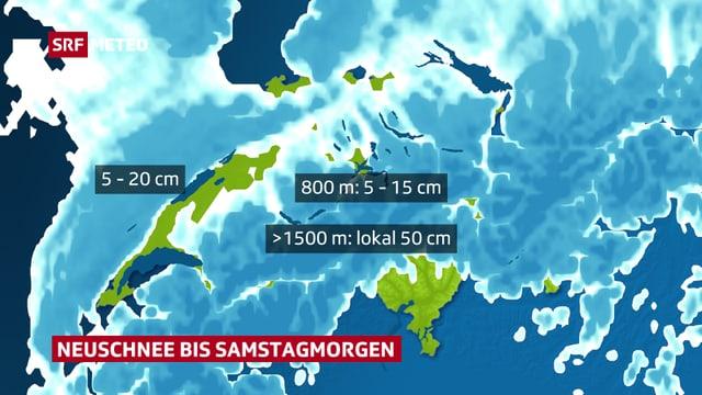 Karte der Schweiz mit Neuschneemengen.
