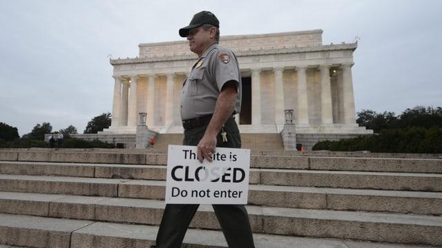 Während des Shutdowns in den USA bleibt auch das Lincoln Memorial geschlossen.