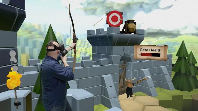 Ein Mann schiesst in der VR einen Bogen auf ein rotes Ziel.