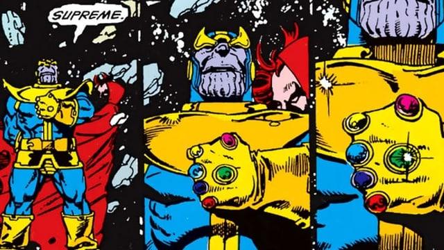 Der muskolöse Thanos hält einen Handschuhe mit magischen Steinen.