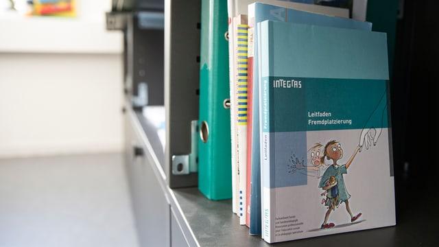 Ein Buch über Fremdplatzierungen steht in einem Büro der Kindes- und Erwachsenenschutzbehörde.
