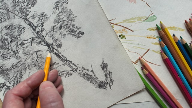 Eine Person zeichnet mit der linken Hand.
