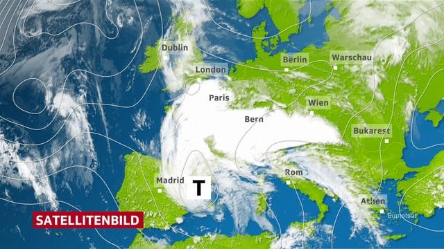 Das Satellitenbild von Donnerstag zeigt ein ausgeprägtes Tiefdruckgebiet zwischen dem Spanischen Festland und den Balearen. Das Tief lenkt Wolken nicht nur zur Schweiz, die südliche Hälfte von Mitteleuropa wird abgedeckt.