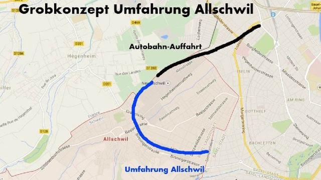 Grobe Linienführung der geplanten Umfahrung Allschwil