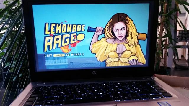 Laptopbildschirm: Die Sängerin Beyoncé als Pixel-Grafik hält einen Baseballschläger und eine Zitrone.