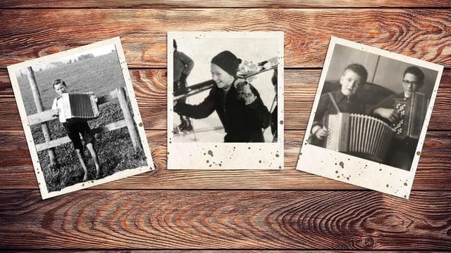 Collage mit drei Schwarz-Weiss-Fotografien.