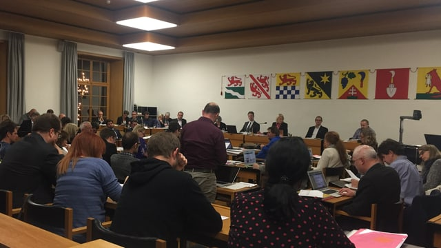 Eine Gruppe von Parlamentariern sitzt im Ratsaal. An der Wand hängen die Flaggen der Winterthurer Gemeindeteile.