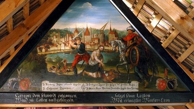 Ein Bild im Giebel der Kapellbrücke in Luzern