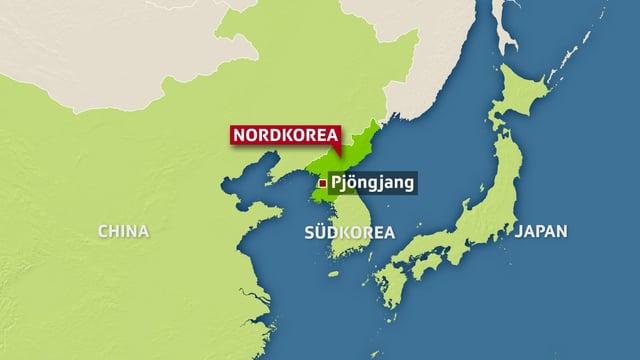 Eine Landkarte zeigt Korea und Japan.