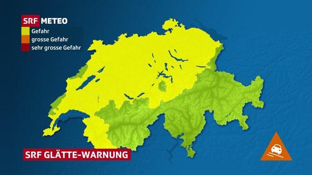 Schweizer Karte mit Gebieten mit Gefahr vor Schneeglätte.