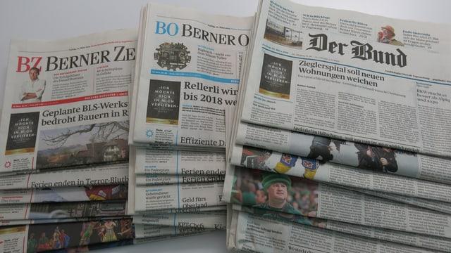 Die SVP hat die Werbeplätze auf den Frontseiten der Berner Zeitungen reserviert