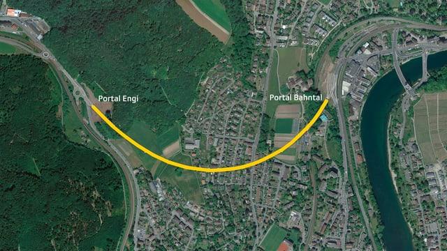 Luftaufnahme mit eingezeichnetem Tunnelverlauf