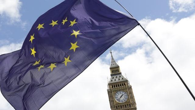 EU-Fahne vor dem Glockentrum Big Ben in London