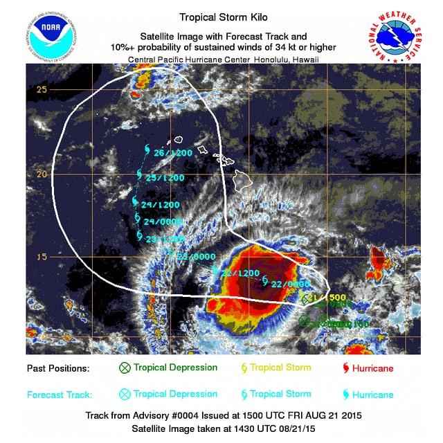 Der Sturm zieht möglicherweise Richtung Hawaii