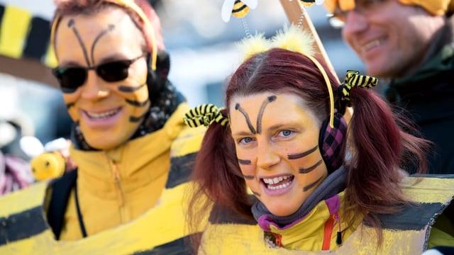 Demonstranten als Bienen verkleidet