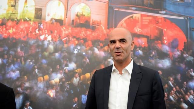 Bundesrat Berset an einer Medienkonferenz in Locarno