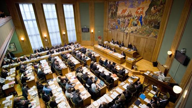 Blick in den Ratssaal des Walliser Kantonsparlaments.
