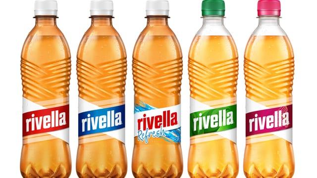 5 Flaschen von verschiedene Rivella-Sorten