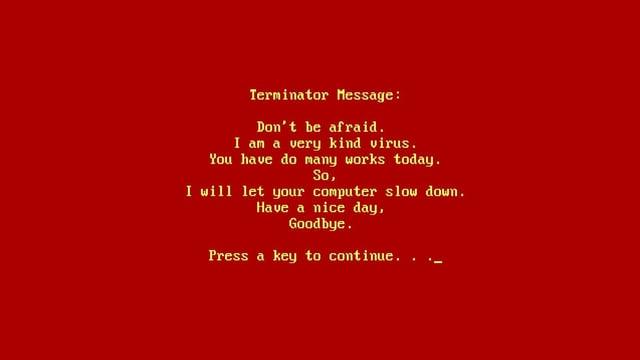 Die Nachricht eines Virus, dass er ein ganz lieber sei und uns eine Pause schenkt.