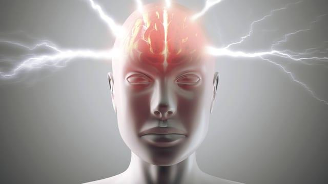 Grafische Darstellung eines Kopfs mit Blitzen.