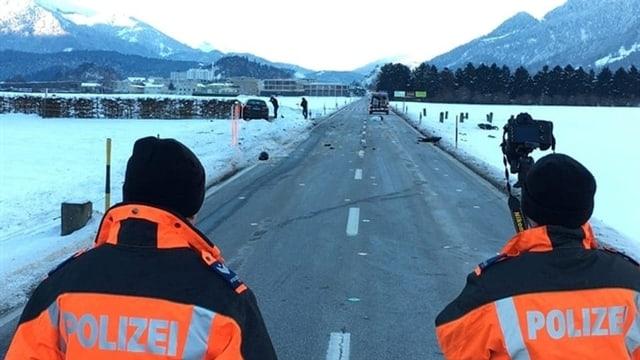 Purtret dal lieu da l'accident sin la via da Cuira direcziun Domat.