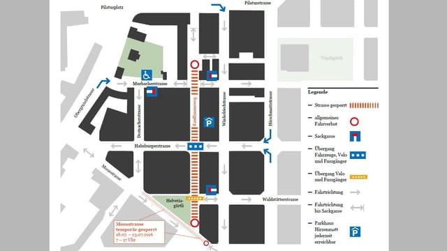 Verkehrsplan für das Quartier Hirschmatt während der Sanierungsphase.